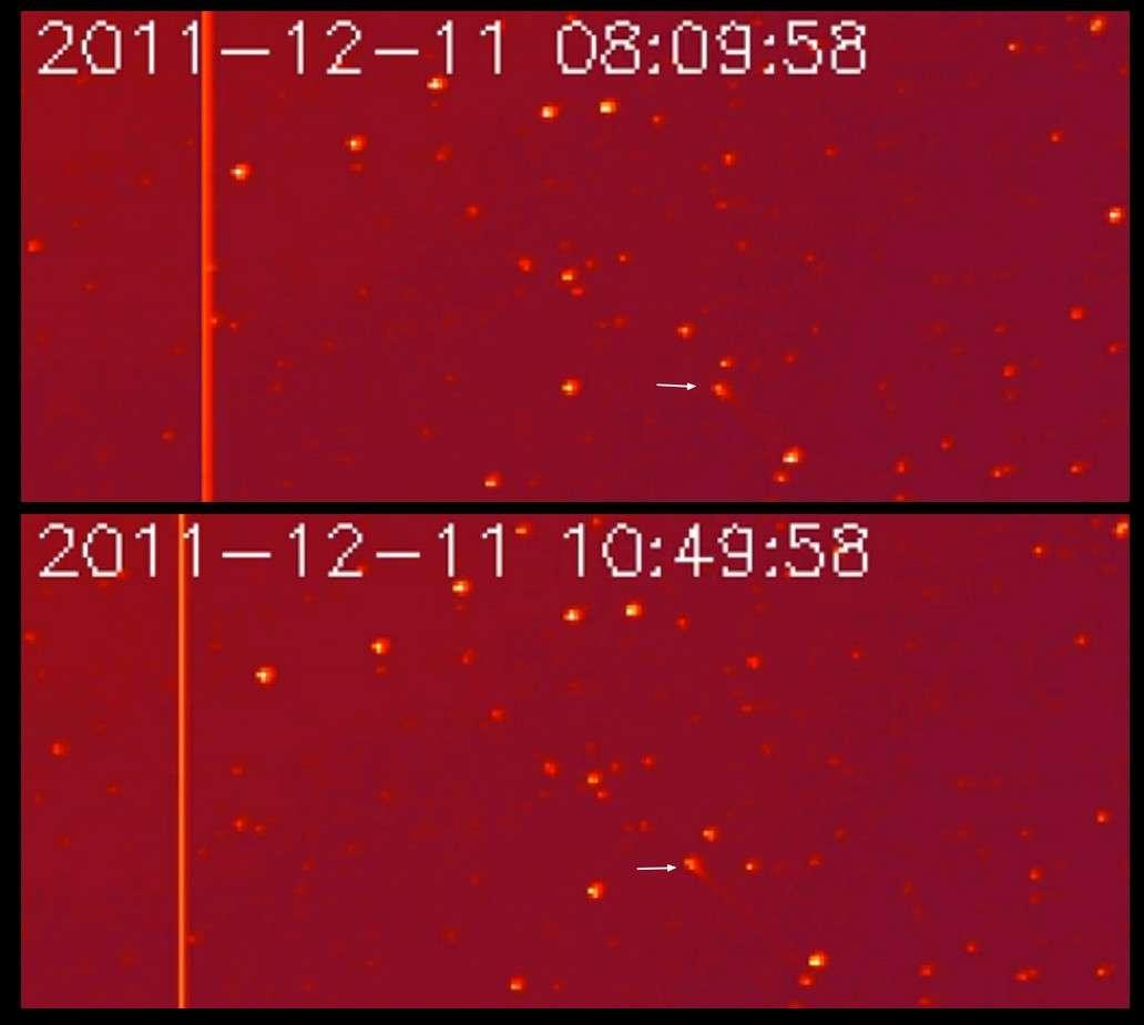 La sonde Stereo B a photographié le déplacement de la comète C/2011 W3 le 11 décembre dernier. © Nasa/Stereo