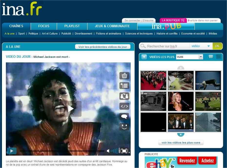 Sur Ina.fr, une page d'accueil annonce des documents sélectionnés pour coller à l'actualité tandis que les onglets ouvrent, par rubriques, d'autres moyens de chercher des reportages, des films ou des émissions de radio.