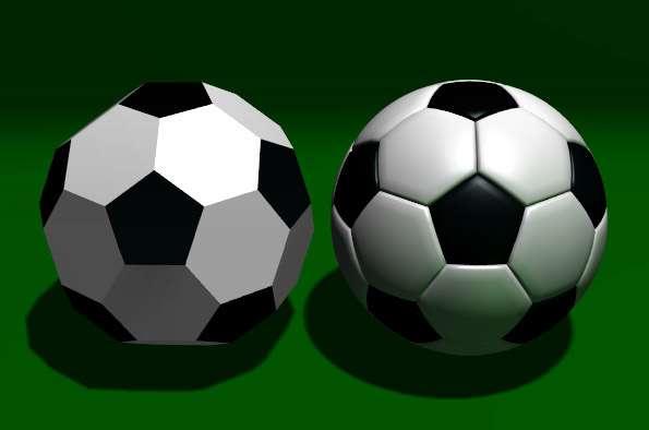Un ballon de foot est un icosaèdre tronqué... © Domaine public