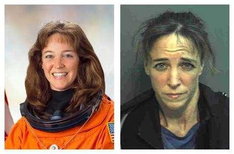 L'astronaute Lisa Nowak, avant… et après. Crédit photos NASA / Police d'Orlando.