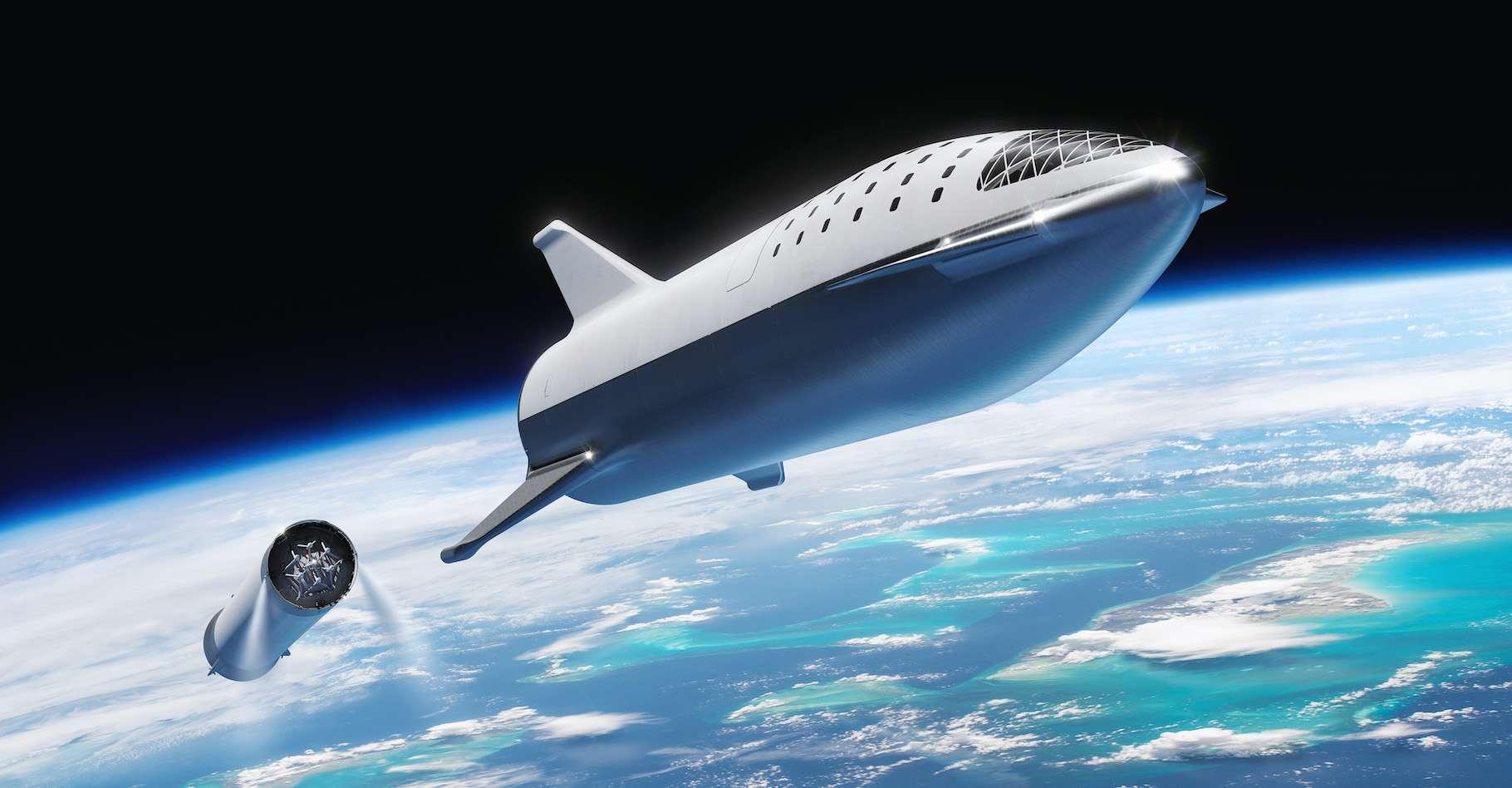 Un voyage dans l'espace ? Starship n'en est pas encore là. Hier, lors de tests de réservoir, l'engin a explosé. © SpaceX, Wikipedia, CC0