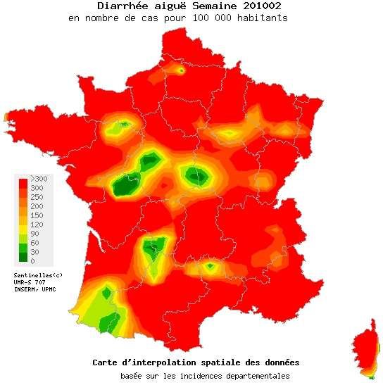 Gastro : la France en rouge du 11 au 17 janvier. © Réseau Sentinelles