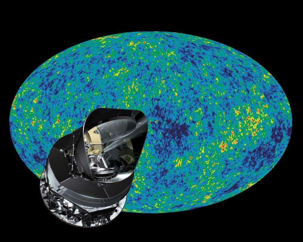 Planck fournira une image du fond diffus cosmologique avec une résolution plus fine que celle donnée par WMap que l'on voit ici en arrière plan. Crédit : Esa (AOES Medialab) ; arrière-plan Nasa/WMap