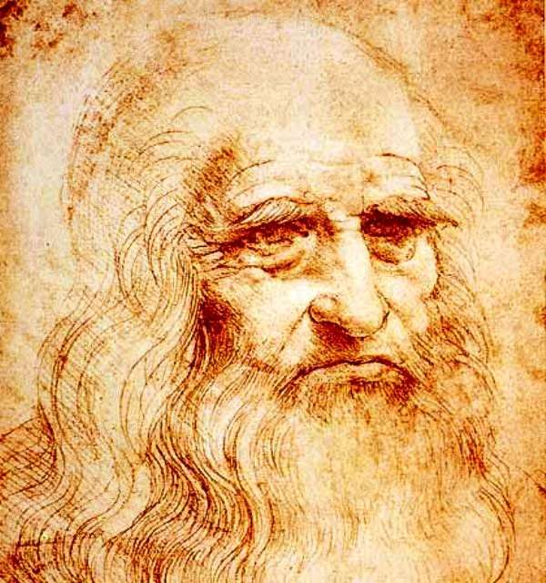 Autoportrait de Léonard de Vinci, auteur de La bataille d'Anghiari, la fameuse fresque perdue. © Domaine public