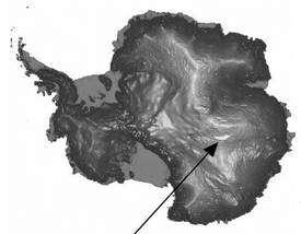 Emplacement du lac Vostok en Antarctique. Ce lac a donné son nom à la station scientifique russe qui se trouve en surface. © Scar