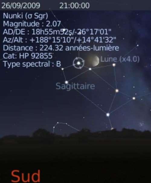 La Lune est en rapprochement avec l'étoile Nunki