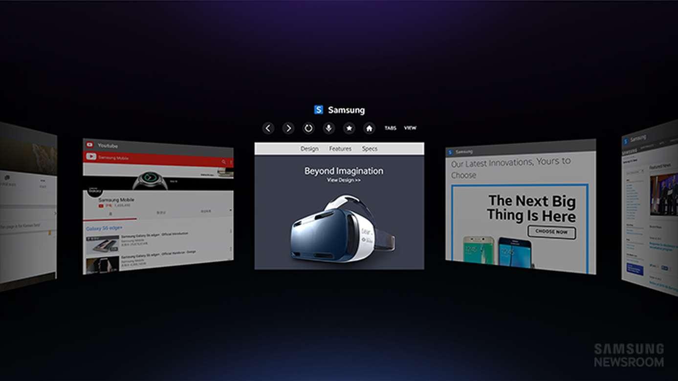 Samsung est le premier fabricant de casque de réalité virtuelle à proposer un navigateur Internet. En l'absence de souris et de clavier, la navigation se fait notamment à la voix. On peut ainsi lire toutes les vidéos HTML5, aussi bien en 3D qu'à 360 degrés. © Samsung