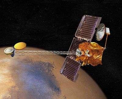 Mars Odyssey en orbite martienne (vue d'artiste). Crédit NASA.