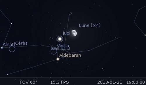 La lune en rapprochement avec l'amas des Pléiades et Jupiter