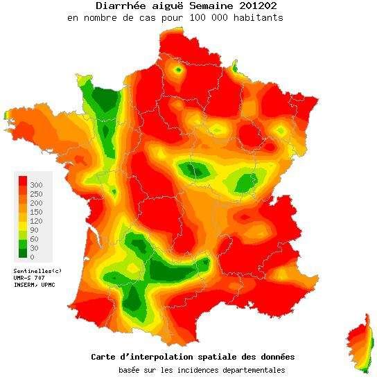 L'épidémie de gastroentérite est déclarée en France mais elle commence à reculer dans certaines régions, comme en Basse-Normandie. © Réseau Sentinelles