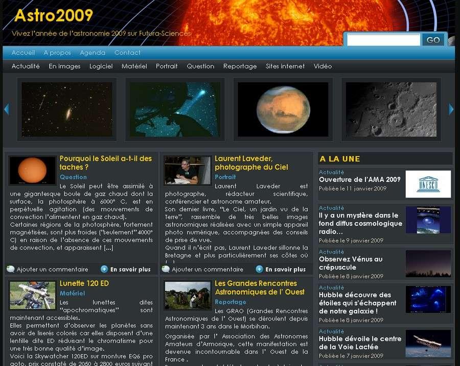 Page d'accueil du blog Astro 2009.