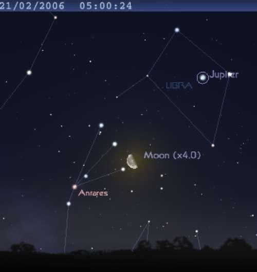 La Lune passe à proximité de l'étoile Antarès