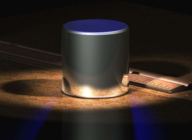 Un kilogramme est défini comme la masse de l'étalon mille grammes en Platine-Iridium, ici en image de synthèse. © Greg L., Wikipédia, CC by-sa 3.0