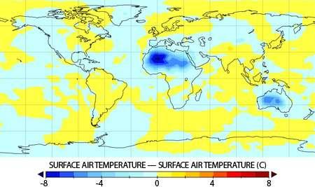 Des forêts plantées dans le Sahara y réduiraient les températures locales de 4 à 8°C (zones en bleu). © Leonard Ornstein