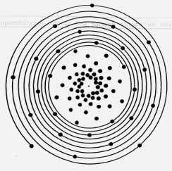 La spirale génératrice représentée par le trait continu porte une série de points qui imitent les arrangements botaniques. Deux points successifs le long de la spirale sont séparés par une distance angulaire constante. © DR
