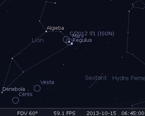 Mars et Régulus sont en rapprochement