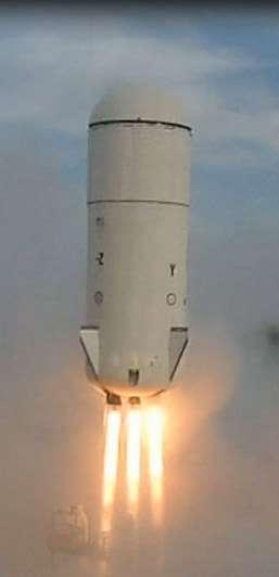 Coup dur dans le développement du New Shepard de Blue Origin avec la perte d'un des engins d'essais, lors d'un vol à quelque 13.700 mètres. © Blue Origin