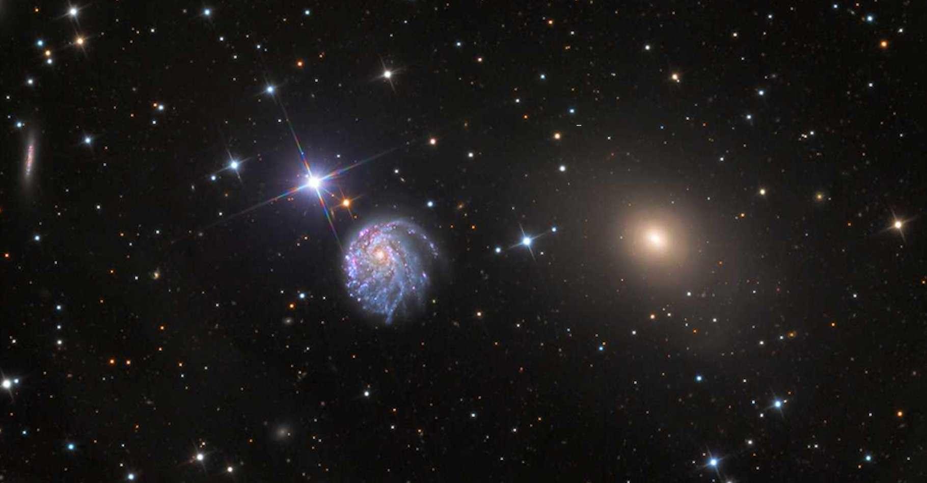 La galaxie spirale NGC 2276 déformée par la gravité dans son environnement. © Hubble, Nasa