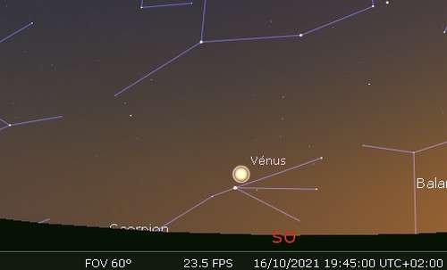 Vénus en rapprochement avec Antarès