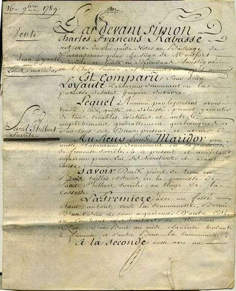 Un acte authentique peut être un acte de vente, comme celui-ci, qui date de 1789. © Teper, CC BY-SA 3.0, Wikimedia Commons