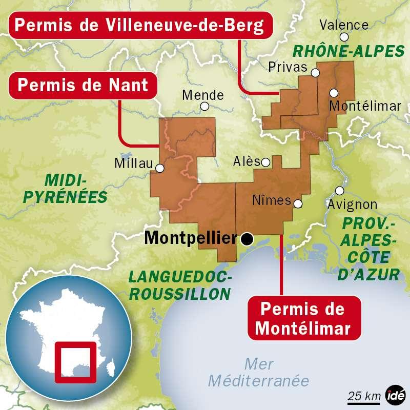 Le gouvernement français a abrogé trois permis de recherche de gaz de schiste : Nant, Montélimar et Villeneuve-de-Berg. © Idé