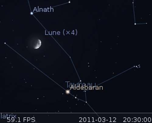 La Lune en rapprochement avec Aldébaran et Alnath