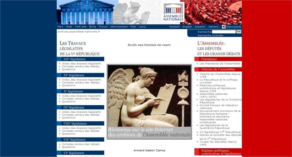 Un site pour consulter les archives, récentes ou anciennes. © Assemblée nationale