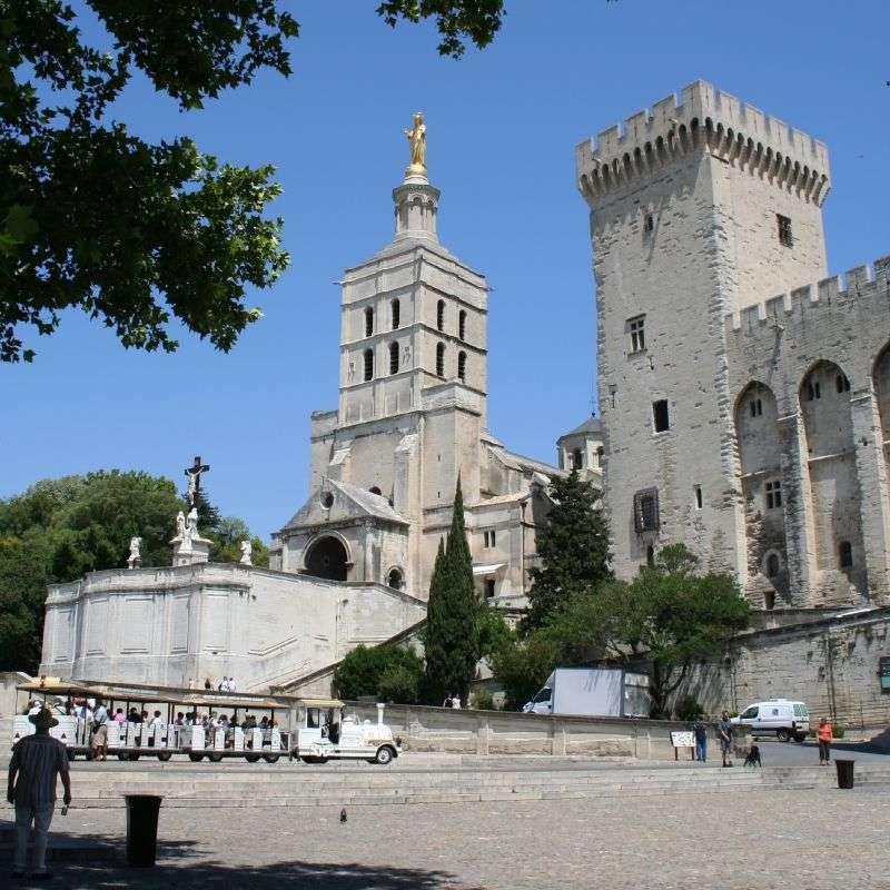 Le palais des papes et la cathédrale Notre-Dame des Doms. Le palais des papes est la plus grande construction gothique du Moyen Âge. © DrBartje, Flickr, cc by sa 2.0