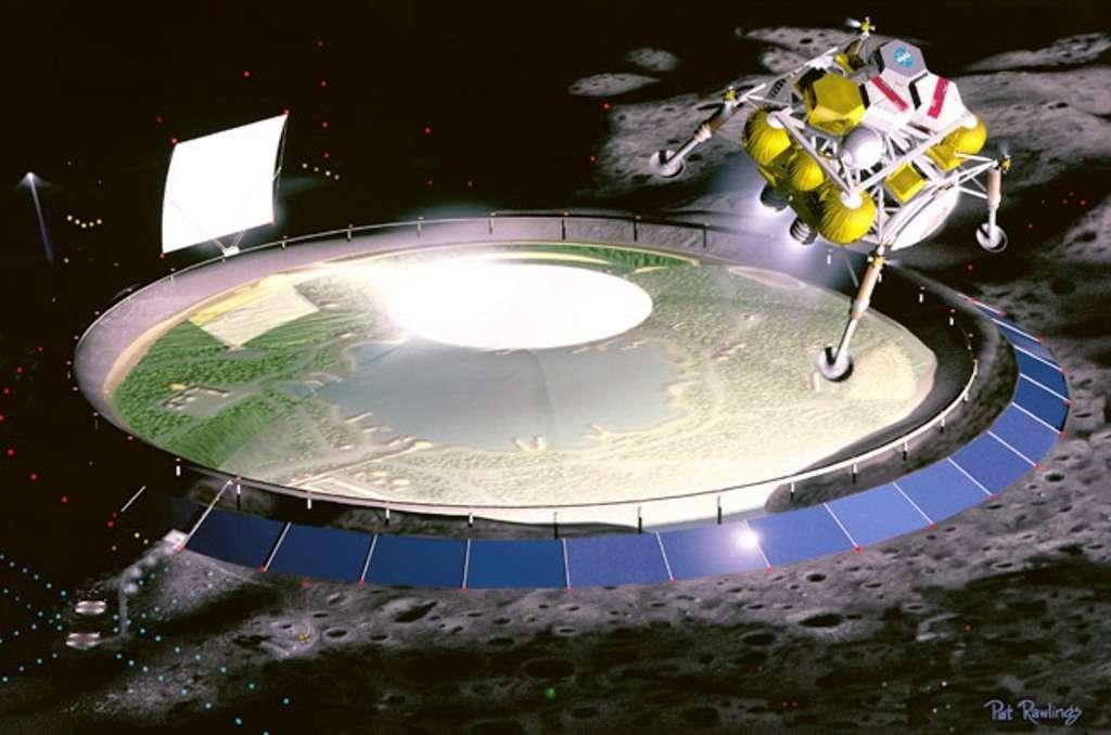 Vers la fin du XXIe siècle, il y aura peut-être de vastes colonies à la surface de la Lune. Comme sur cette vue d'artiste, des portions de paysages terrestres, constituant de véritables biosphères en réduction, pourraient bien intégrer ces bases lunaires permanentes. © Pat Rawlings, Nasa