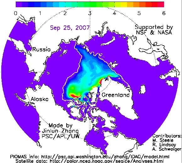 La banquise arctique le 25 septembre 2007. © NSF/Projections of an Ice-Diminished Arctic Ocean