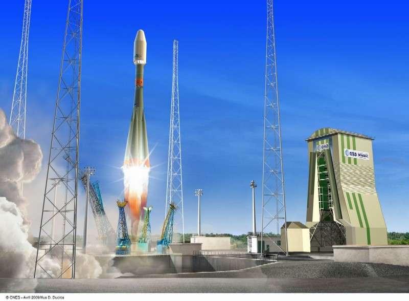 Vue d'artiste de la fusée Soyouz s'élançant de l'ELS, au Centre spatial guyanais. Si tout se passe bien, ce sera le spectacle de jeudi prochain, 20 octobre. © D. Ducros/Cnes