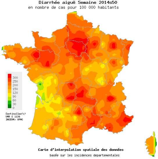 Carte de France de la gastro-entérite (semaine 50). © Réseau Sentinelles, Inserm, UPMC, http://www.sentiweb.fr