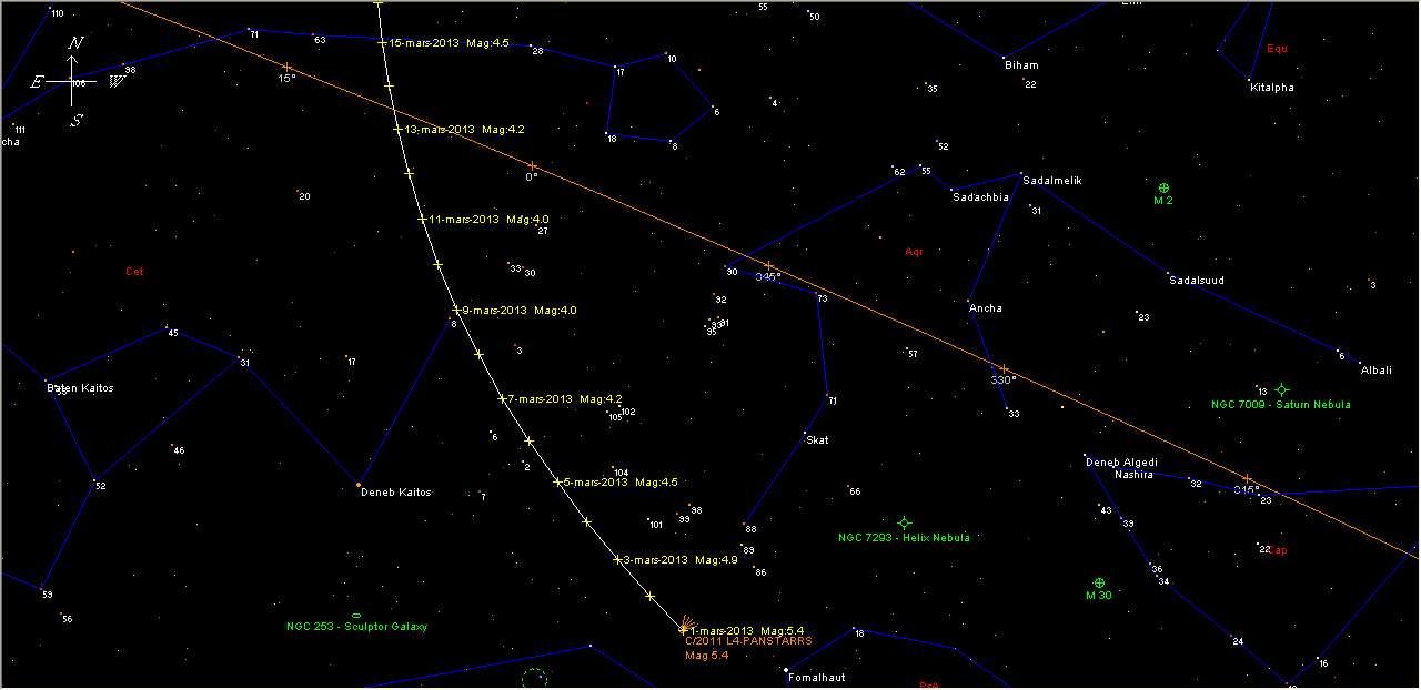 Le 13/03/2013 : observez la comète Panstarrs. © DR