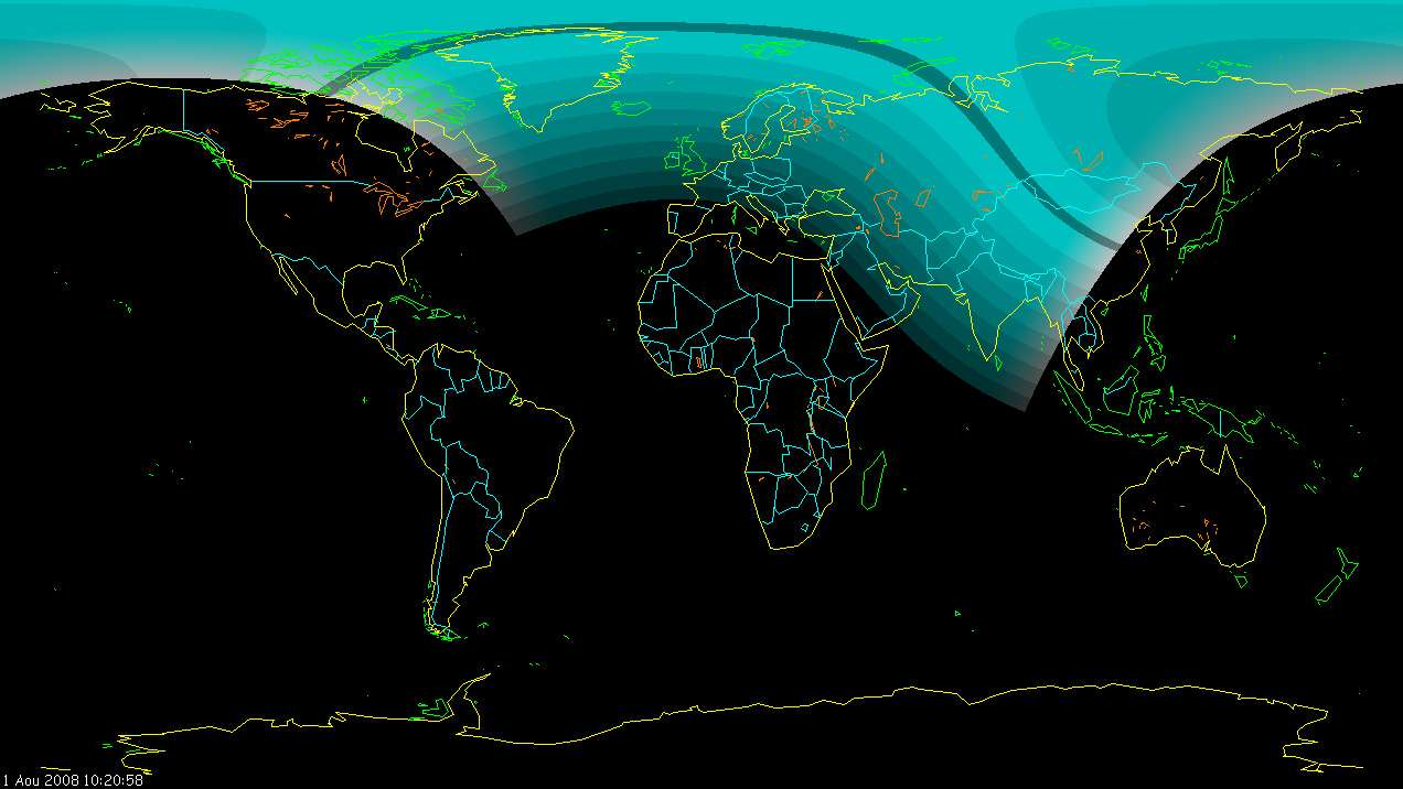 Le passage de l'éclipse sur la planète. D'après Project Pluto Guide 7.0