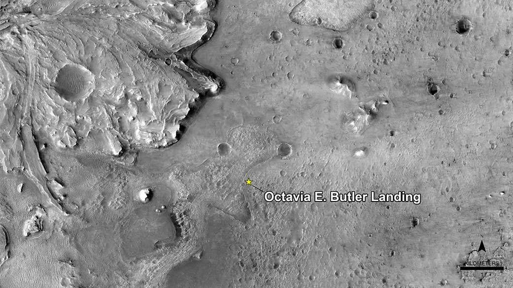 L'étoile indique l'emplacement exact du site d'atterrissage de Perseverance désormais appelé Octavia Butler Landing. © Nasa