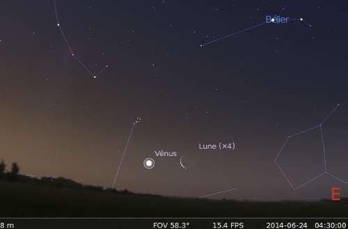 La Lune en rapprochement avec Vénus et les Pléiades