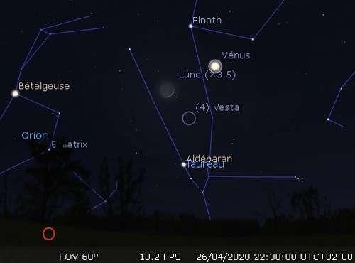 La Lune en rapprochement avec Vénus et Vesta