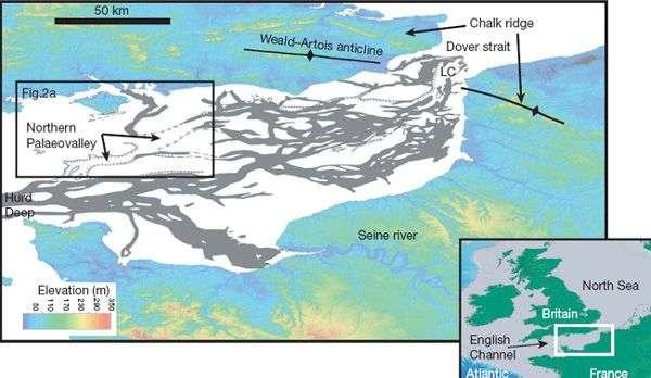 Carte de la Manche montrant la situation de la barrière rocheuse de Weald-Artois voici plus de 200 000 ans. Crédit Imperial College of London.