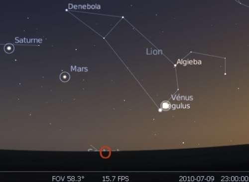 La planète Vénus est en rapprochement avec l'étoile Régulus