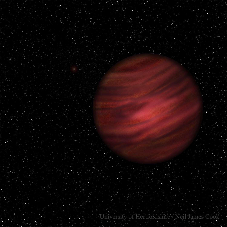 Illustration de l'objet 2MASS J2126, situé à 104 années-lumière de la Terre. Avec une masse comprise entre 11,6 et 15 fois celle de Jupiter, l'astre est juste à la frontière entre planète et naine brune. © University of Hertfordshire, Neil Cook