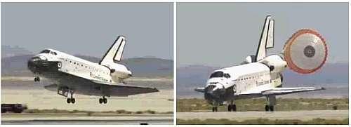 L'atterrissage d'Endeavour à Edwards. Captures d'images NASA-TV.