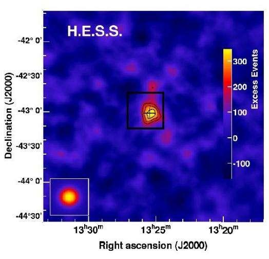 Figure 2 : carte du ciel vue par H.E.S.S. en direction de Centaurus A. Le carré noir représente les dimensions de la figure 1. Crédit : Observatoire de Paris-Collaboration H.E.S.S.