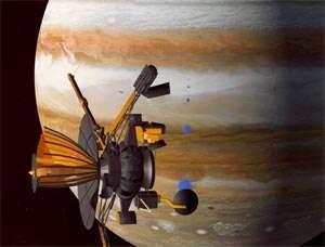 La sonde Galileo en orbite autour de Jupiter (vue d'artiste)crédit : NASA