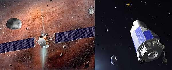 Dawn (à gauche) et Kepler dans leur configuration de vol.Montage Futura-Sciences sur des documents Nasa et JPL.