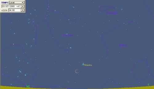 La Lune passe à proximité des Pléiades (M45)