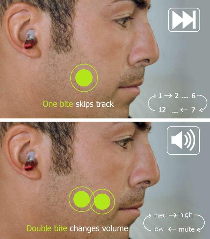 Fermer la mâchoire ou claquer des dents une fois pour passer au morceau de musique suivant, deux fois pour modifier le volume sonore. Le système de pilotage du baladeur interne aux oreillettes est plutôt original... Des accéléromètres intégrés dans les écouteurs détectent les contractions de la mâchoire. © Greenwind