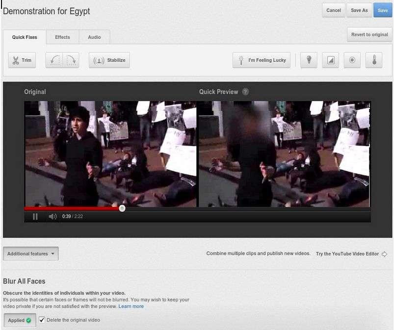 YouTube vient de mettre en place une technique de floutage des visages sur sa plateforme vidéo. Un exemple est ici présenté lors d'une manifestation en Égypte. © YouTube