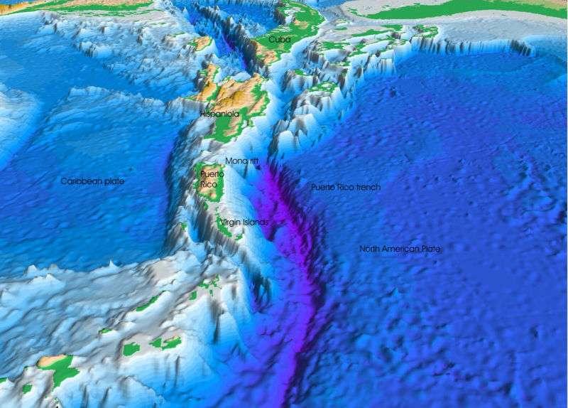 Modélisation en trois dimensions de la fosse océanique de Porto Rico. © Woodshole USGS, domaine public