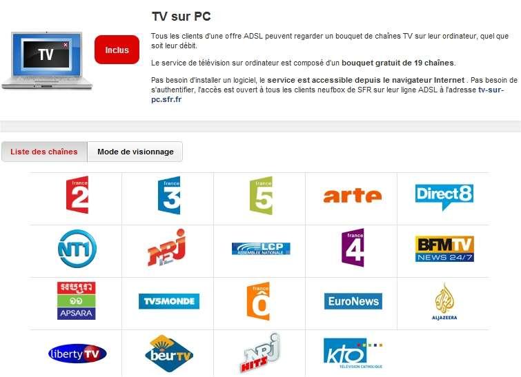 Les chaînes de télévision sont accessibles via Internet depuis longtemps (ici l'offre SFR proposée sur son site). Mais pour l'instant, l'ordinateur n'est qu'un écran supplémentaire qui ne remplace pas encore le téléviseur du foyer. Il est donc exempté de redevance.