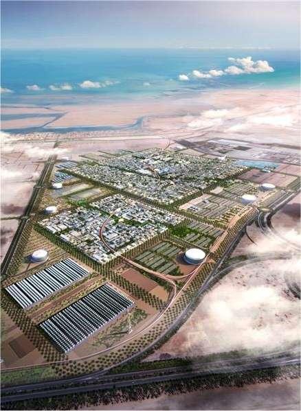 En plein désert, la ville se rafraîchira à l'énergie solaire. © Foster+Partners/Masdar Initiative